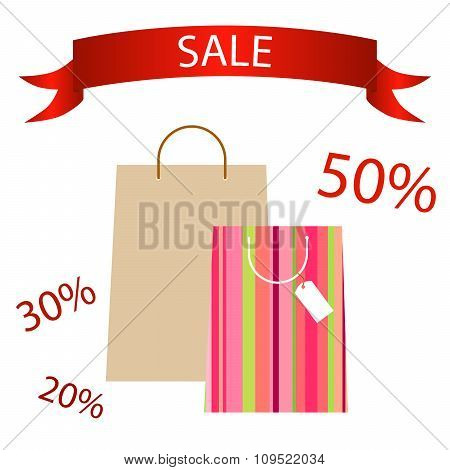 Pocket paper shopping bags tape sale vector