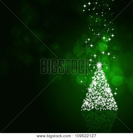 Christmas Magic Tree Green Background