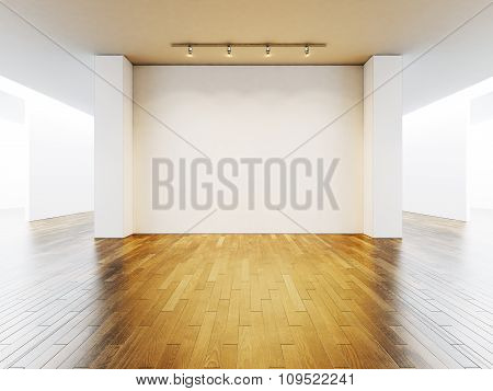 View on the blank wall in gallery with wooden floor. 3d render