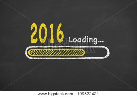 Loading New Year 2016 on Chalkboard