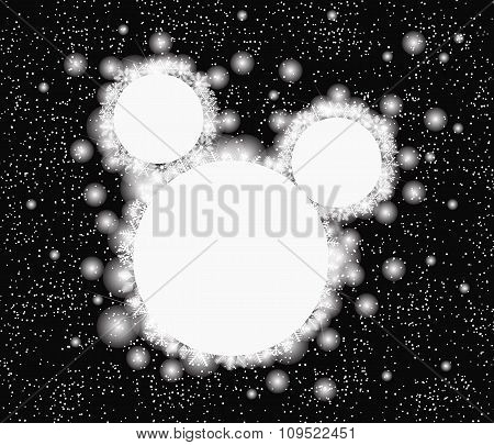 Snowflakes Around Circle On Black Background