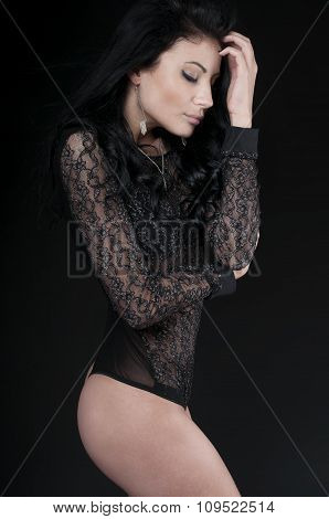 Luxury  Woman Wearing Black Sensual Lingerie