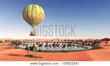 Fantasy hot air balloon over a desert oasis