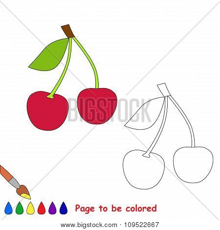 Sweet cherry vector cartoon to be colored.