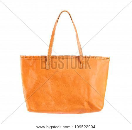 Brown Leather Holding Female Fashion Hand Bag Isolated Background