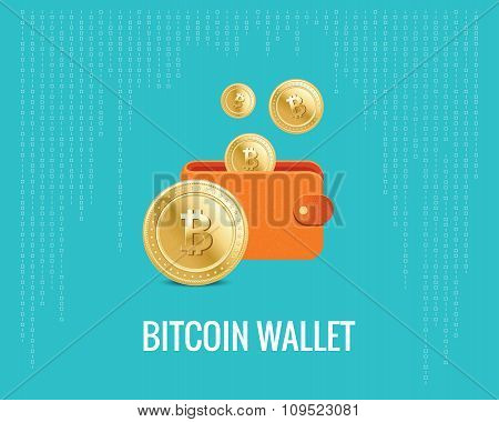 bitcoin wallet illustration with coin icons on the digital blue background.