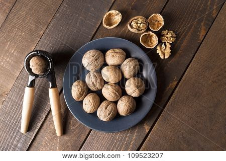 top view of walnuts