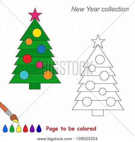 New year tree vector cartoon to be colored.