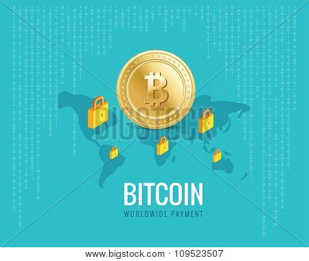 bitcoin worldwide payment illustration with world map and lock icons on the digital blue background.