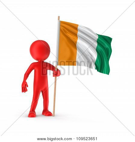 Man and Cote d'ivoire flag (clipping path included)