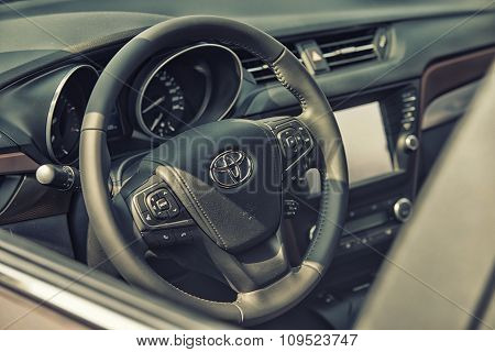 Sleza, Poland, August 15, 2015: Close Up On Toyota Cockpit And Wheel On  Motorclassic Show On August