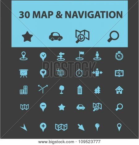 map, location, navigation, route  icons, signs vector concept set for infographics, mobile, website, application