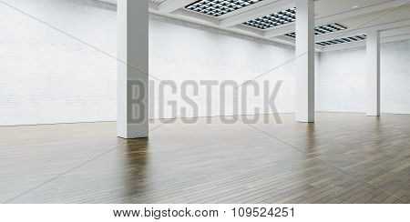 Contemporary loft.  Wide brick wall with wooden floor. 3d render