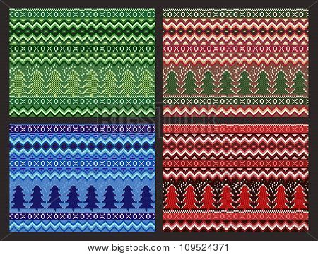Seamless Christmas Pattern Collection. Vector pixel pines and snowflakes set.