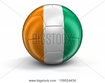 Soccer football with Cote d'ivoire flag