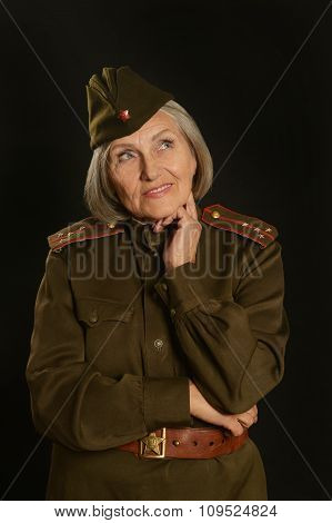 Elderly female soldier