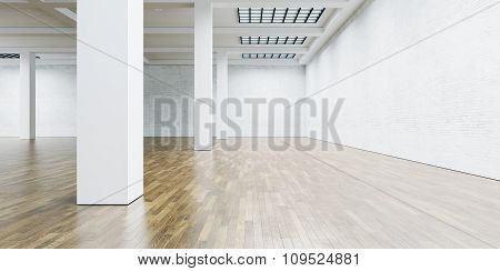 View on the blank wall and column in gallery with wooden floor. 3d render