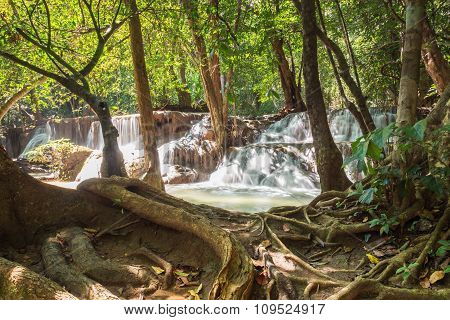 Deep Forest Waterfall In National Park
