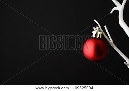 Red Christmas Bauble On White Tree