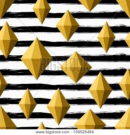 Vector Seamless Pattern With Golden Diamond Crystals On Watercolor Striped Background.