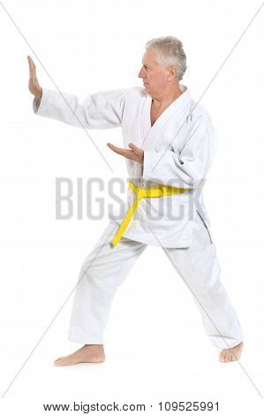 Senior man in karate