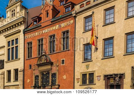 Historic Houses In The Centre Of Prague. Architectural Theme.