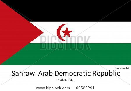 National flag of Sahrawi Arab Democratic Republic with correct proportions, element, colors