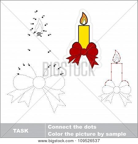 Xmas candle with bow to be traced. Vector numbers game.
