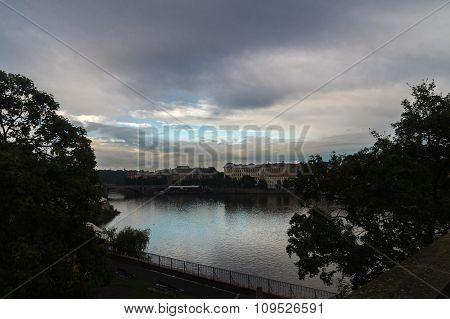 The Vltava River In Prague In Evening