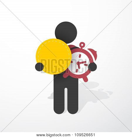 Figure Man Holds Alarm Clock And Tag