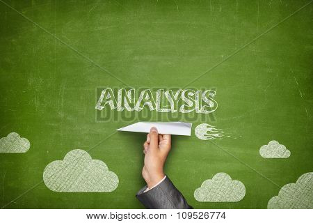 Analysis concept on blackboard with paper plane