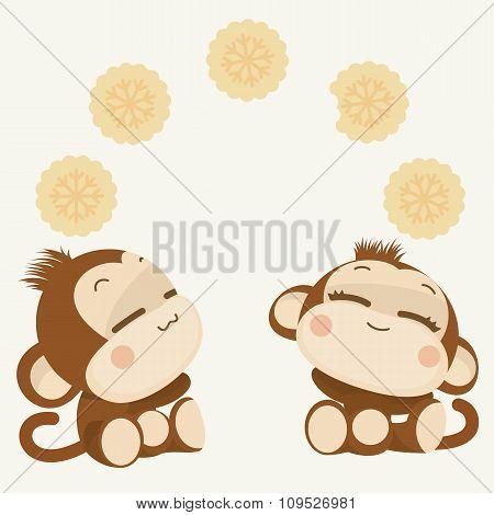Cute Monkey Couple. Happy New Year 2016. Vector Illustration