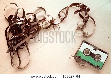 Audio Cassette On Stained Paper