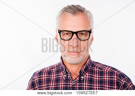 Portrait Of Aged Handsome Man With Glasses