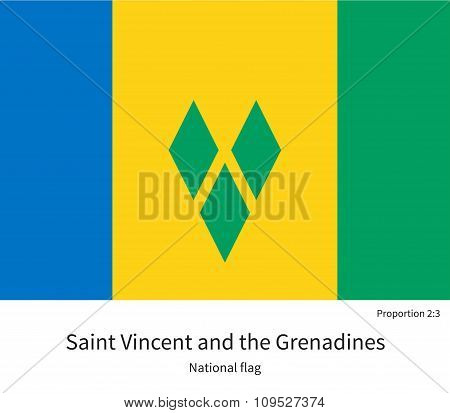 National flag of Saint Vincent and Grenadines with correct proportions, element, colors