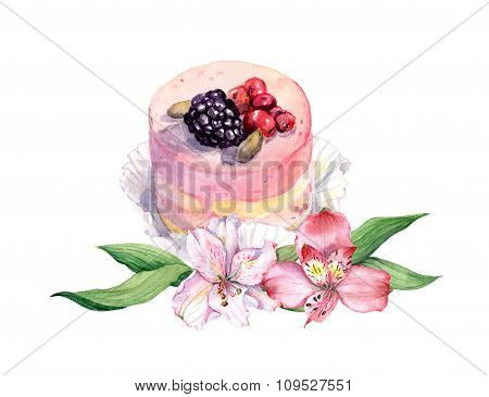 Cake with berries and pink flowers. Watercolor