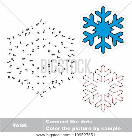 Snowflake to be traced. Vector numbers game.