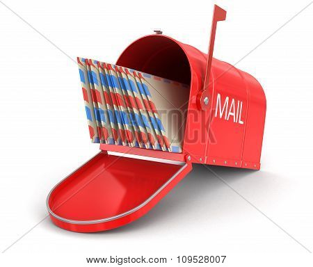 Open mailbox letters (clipping path included)