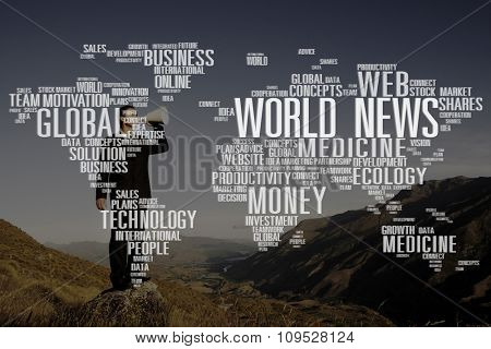 World News Data Ecology Investment maket Medicine Concept