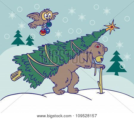 Bear Carries A Christmas Tree And Owl Flying
