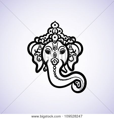 Hand drawn God Ganesh Indian style black on a white background with a place for your text. For invit