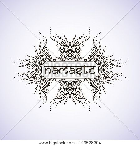 Welcome gesture Indian greeting banner in Namaste mudra on insulated background in vector. Hand draw