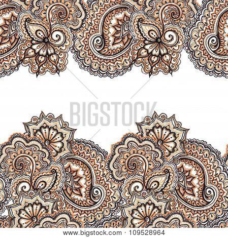 Ornamental eastern repeated stripe frame. Lace ethnic border