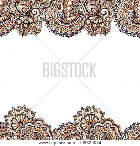 Decorative ornate repeated border frame. Indian ornamental strip