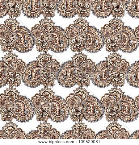 Ethnic ornate seamless pattern. Filigree Indian background with ornament