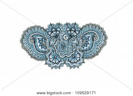 Marker painted decorative ornament. Indian eastern lacework