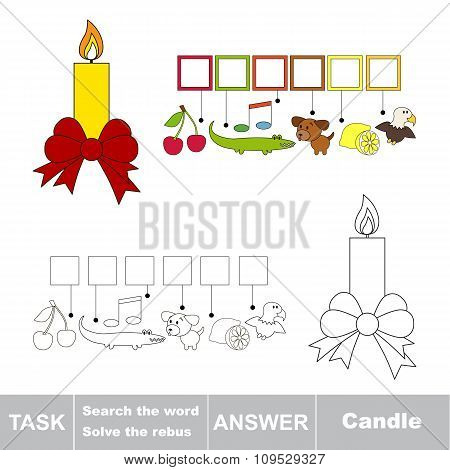 Vector game. Search the word. Find hidden word Candle
