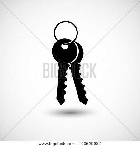 House keys Black icon for web real estate template. Vector illustrations EPS 10 on an isolated backg