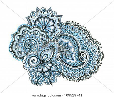 Indian ethnic illustration. Hand painted ornament