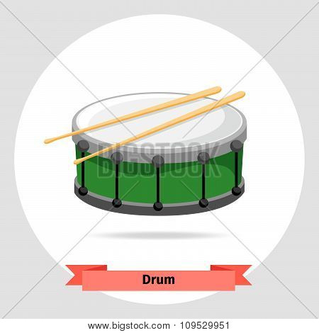Musical instrument drum with drumsticks
